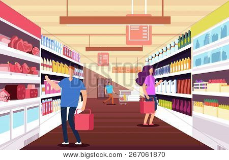 Shopping People In Hypermarket. Customers Between Food Product Shelves. Retail And Discount Sales Ve