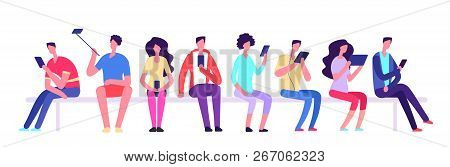 People With Gadgets Sitting On Bench. Men And Women With Cell Phone Meeting Outdoor. Cartoon Student