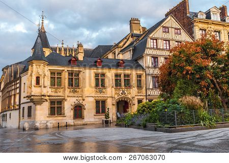Medieval Squre In Old Town Of Rouen, Normandy, France With Nobody
