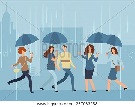 Cartoon People With Umbrella Walking The Street In Rainy Day. Vector Person With Umbrella In Rain St