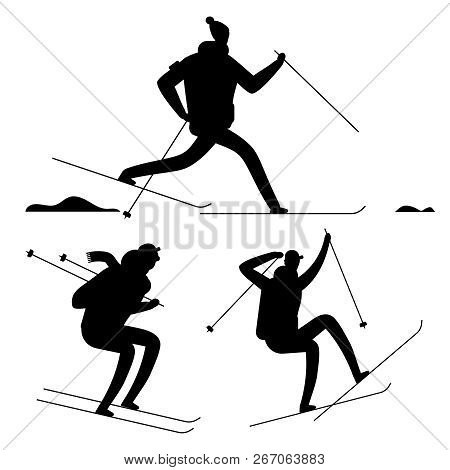 Skiing People Black Silhouettes Isolated On White Background. Vector Ski Silhouette Sport People, Il