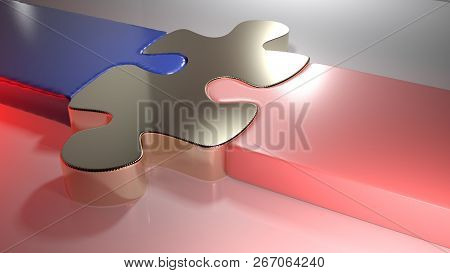 Golden Puzzle Joins Blue And Pink Puzzle Pieces - 3d Rendering Illustration