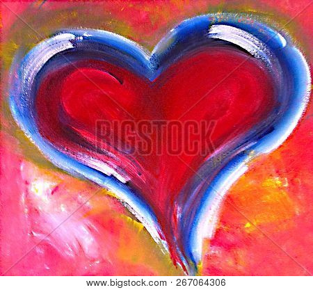 Acrylic Painting On Canvas Of A Red Heart And Blue Brush Stroke Outline
