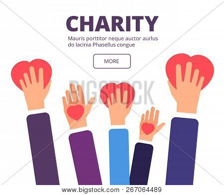Charity And Donation Concept. Volunteer Hands Holding Red Hearts. Generosity, Healthcare And Humanit