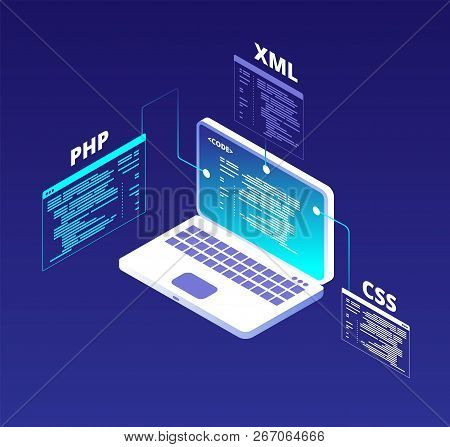 Coding Concept. Website Development And App Software Programming With Laptop And Virtual Screens. Ht