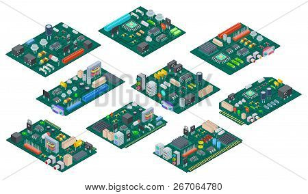 Circuit Board Isometric. Electronic Computer Components Motherboard. Semiconductor Microchip, Diode.