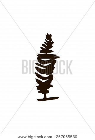 Tree Icon In Hand Drawn Scandinavian Style.