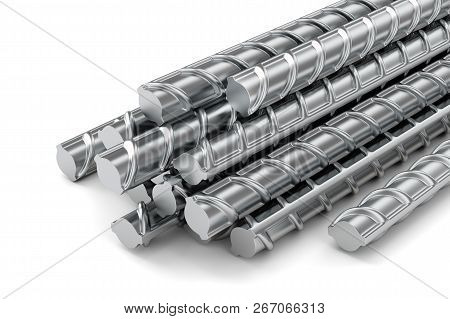 Reinforcing Steel Bars Stacked Group. Metal Building Armature On White Background. 3d Illustration