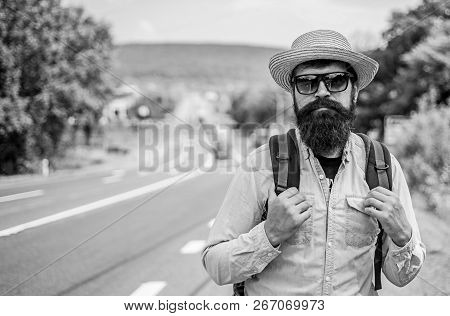 Looking For Company. Look For Fellow Travelers. Tips Of Experienced Tourist. Man Bearded Hipster Tou
