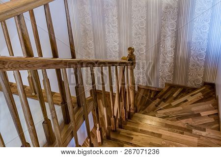 Decorative Wooden Interior Stairs Of A Modern House