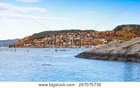 Hommelvik, Coastal Village In Norway. Rural Norwegian Landscape At Autumn Day