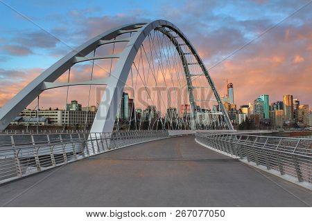Walterdale Bridge Walkway Exploration During Sunset In Edmonton