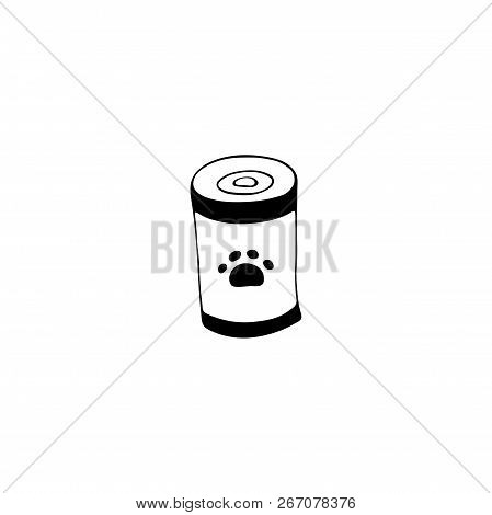 Vector Hand Drawn Icon, Can With Pet Food. Logo Element For Pets Related Business. Illustration For