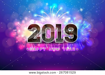 Happy New Year 2019 Illustration With Fireworks And 3d Number On Blue Background. Vector Holiday Des