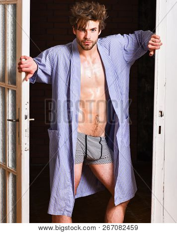 Man Confident Lover Near Door. Sexy Bachelor Lover Concept. Guy Attractive Lover Posing Seductive. S