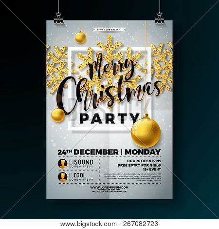 Christmas Party Flyer Illustration With Shiny Gold Glittered Snowflakes And Typography Lettering On