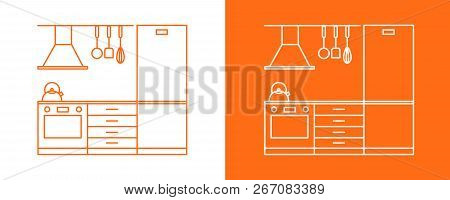 Vector line icon drawing design project fragment of a compact modular kitchen on a white and orange background poster