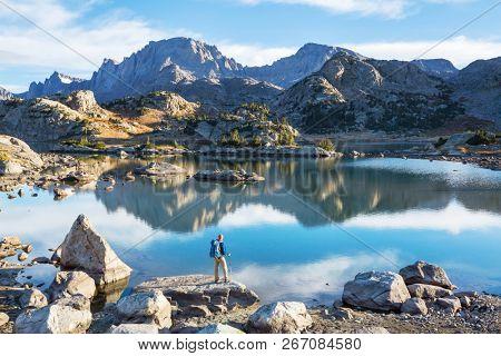 Hike in Wind River Range in Wyoming, USA. Autumn season.