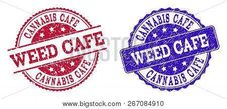Grunge Weed Cafe Seal Stamps In Blue And Red Colors. Stamps Have Draft Surface. Vector Rubber Imitat