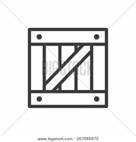 Wooden Box Vector Icon On White Background. Wooden Box Icon In Modern Design Style. Wooden Box Vecto
