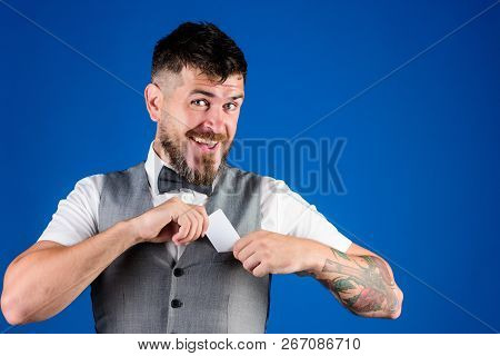 Banking And Credit Concept. Plastic Bank Card. Easy Money Credit. Man Bearded Hipster Hold Plastic B