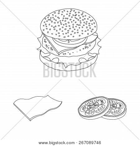 Vector Design Of Burger And Sandwich Icon. Collection Of Burger And Slice Stock Vector Illustration.
