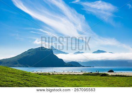 Haukland Beach On The Lofoten Islands In Norway.