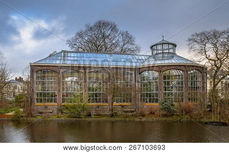Amsterdam, Netherlands - December 29, 2016: Historic Traditional Greenhouse Of The Hortus Botanicus
