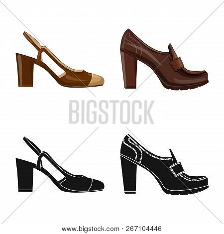 Vector Illustration Of Footwear And Woman Symbol. Collection Of Footwear And Foot Stock Vector Illus