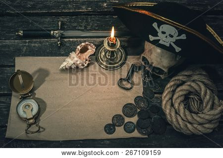 Pirate Treasure Map With Copy Space, Pirate Captain Hat, Compass, Coins, Human Skull, Mooring Rope,