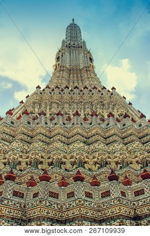 Stupa-like Pagoda Encrusted With Colorful Glazed Porcelain Tiles And Seashells In Wat Arun Ratchatha