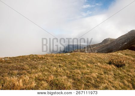 Autumn Nizke Tatry Mountains Between Kotliska And Skalka Hills With Mountain Meadow, Partly Rocky Hi