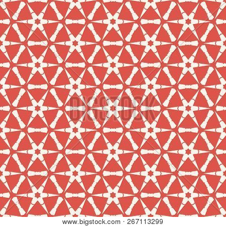 Vector Abstract Geometric Seamless Pattern With Hexagonal Grid, Flower Silhouettes, Snowflakes, Net,
