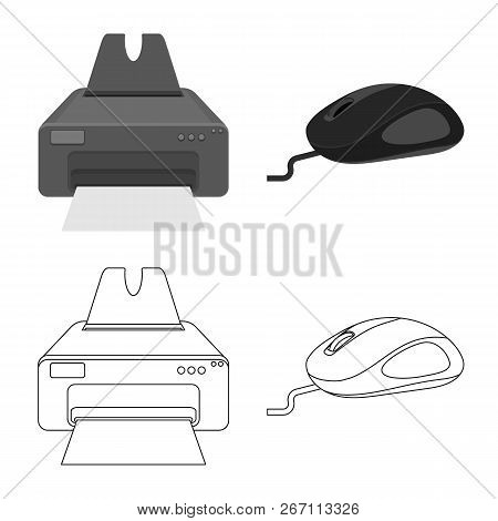 Isolated Object Of Laptop And Device Logo. Collection Of Laptop And Server Stock Vector Illustration