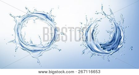 Vector 3d Realistic Set With Blue Water Splashes, Abstract Shapes With Drops, Clean And Transparent,