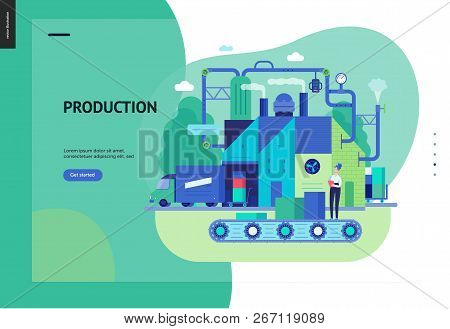 Business Series, Color 3 - Factory Production -modern Flat Vector Illustration Concept Of Industrial