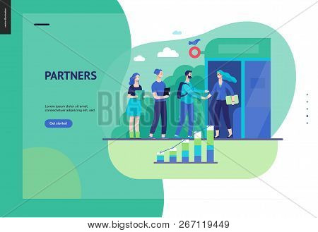 Business Series, Color 3 - Partners -modern Flat Vector Illustration Concept Of People Shaking Their