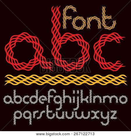 Set Of Vector Lower Case Rounded Alphabet Letters Isolated Created With Abstract Curvy Lines.