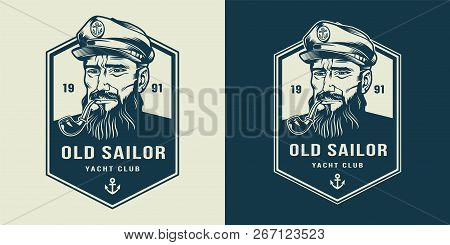 Vintage Monochrome Marine Label With Seaman In Sailor Hat Smoking Pipe Isolated Vector Illustration