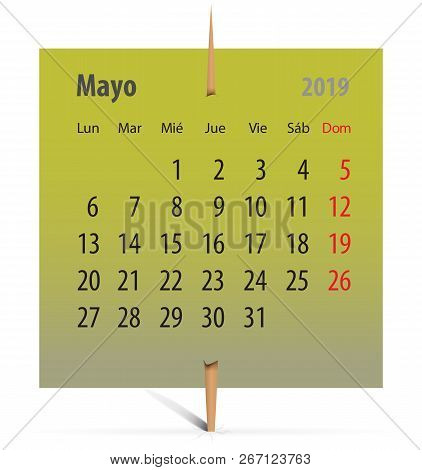 Spanish Calendar For May 2019 On A Green Sticker Attached With Toothpick. Vector Illustration