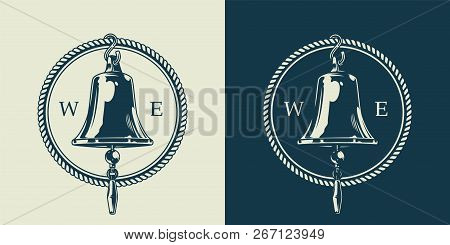 Vintage Nautical Emblem Concept With Ship Bell And Rope In Monochrome Style Isolated Vector Illustra