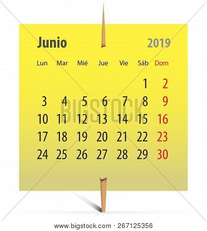 Spanish Calendar For June 2019 On A Yellow Sticker Attached With Toothpick. Vector Illustration