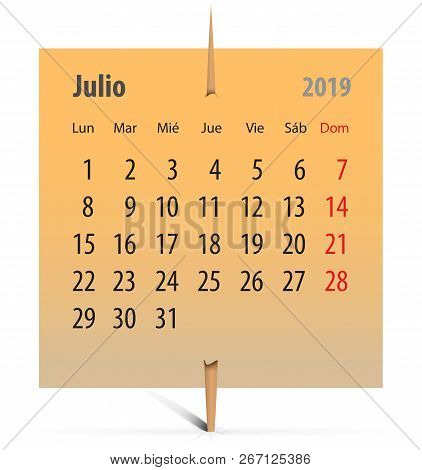 Spanish Calendar For July 2019 On An Orange Sticker Attached With Toothpick. Vector Illustration