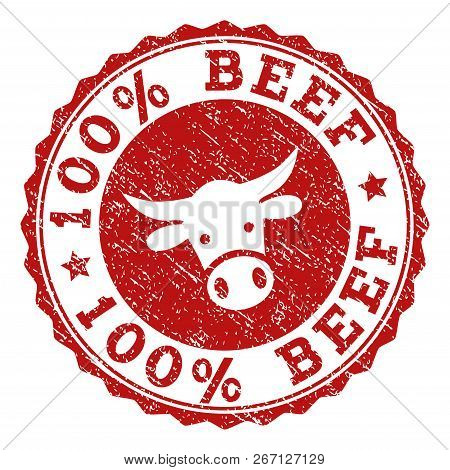 100 Beef Stamp Seal With Grunged Texture. Designed With Bull Head Symbol. Red Vector Rubber Stamp Wi