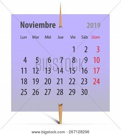 Calendar For November 2019 On A Violet Sticker Attached With Toothpick. Vector Illustration