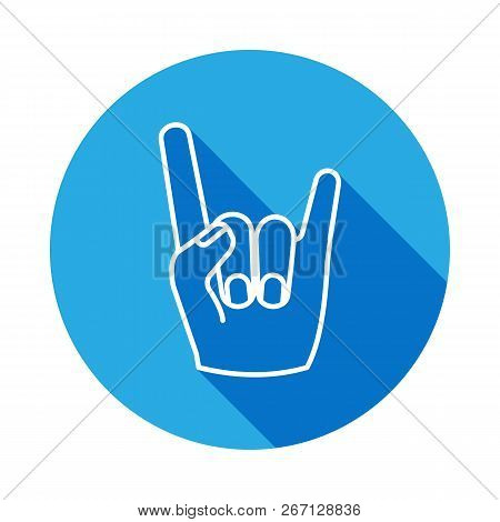Rock And Roll Hand Icon With Long Shadow. Hand Drawn Rock And Roll Hand Sign Icon With Long Shadow.