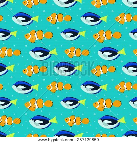 Seamless Pattern With Aquarium Fish. There Are Blue Surgeon Fishes And Orange Clown Fishes In The Pi