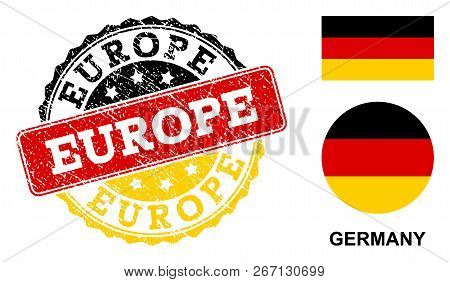 Europe Stamp Seal. Vector Rubber Watermark With Official Colors Of Germany Flag. Designed For Europe