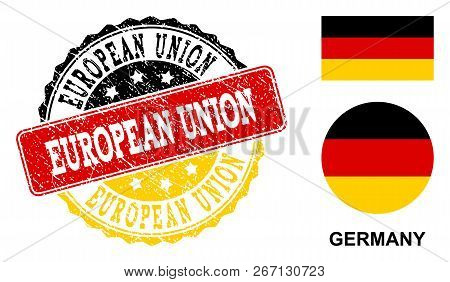 European Union Stamp Seal. Vector Rubber Watermark With Official Colors Of Germany Flag. Designed Fo