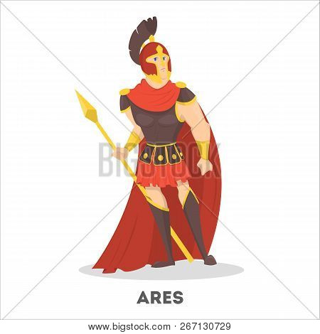Ares Ancient Greek God With Shield. Olympian Mythical